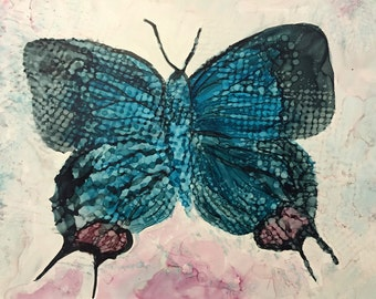 Crowned Hairstreak Original 5x7 Alcohol Ink Painting on Yupo