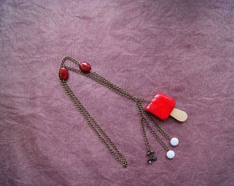Bronze necklace chain cherry ice