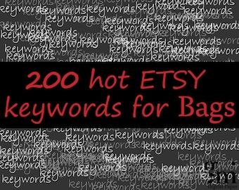 200 Keywords and Tags for Bags, 200 SEO keywords BAGS, Bags Keywords, Bags Tags