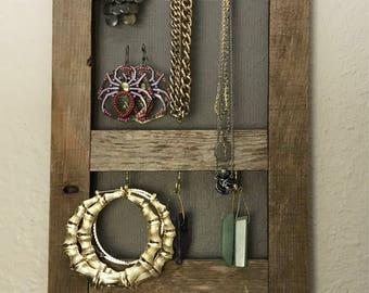 Handmade Jewelry Holder from Vintage Window Pane