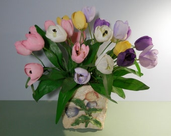 "15"" Tall Silk Pocket Tulip Flower Centerpiece Embossed Beige Hypertufa Style Planter Table Decoration Springtime Decorative Tabletop Display"