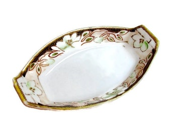 Antique Nippon China Salt Dish with Gold Trim 100 Years Old - Trinket Dish- Japanese Antique