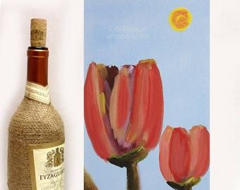 Two Tulips, Tulip Painting, Flower Painting, Winjimir, Home Decor, Office, Flowers, Spring, Garden, Wall Art, Vertical Painting, Floral, Art