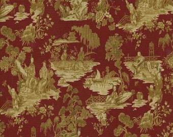 Waverly Canton Garden color Merlot Toile Printed Decorative Fabric