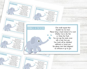 Bring a book cards baby shower, Elephant Blue Books for Baby, Bring a book instead of a card, Baby shower Nursery Printable Baby Shower Card