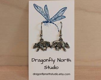 Badger earrings - animal earrings - antique silver earrings