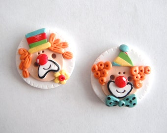 Button Clowns handmade polymer clay buttons ( 2 )