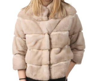 Luxury gift /Mink fur coat 2/4 sleeves / Fur jacket Full skin salsa