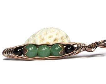 Three Peas in a Pod, Pea Pod Necklace, Green Aventurine Jewelry, Copper Pea Pod Pendant, Wire Wrapped Pendant, Friendship Pendant