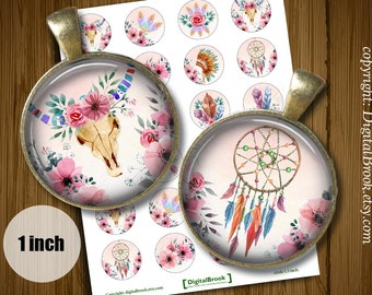 Watercolor boho Style -  Digital Collage Sheet  1inch 25mm Printable Circles Download for pendants magnets bottle Cabochons - 285