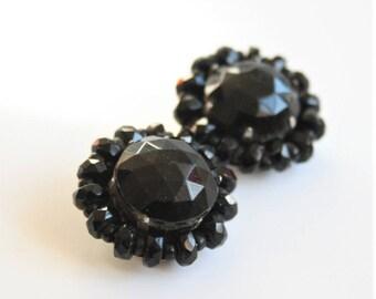 French Jet earrings. Clip on earrings. Vintage earrings. West German earrings