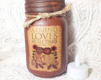 Grungy Jar Candle, A Friend Loves at All Times, Jar Candles, Primitive Grungy Pint Jar, Scripture, Proverbs 17:17, spicy, cranberry, chai,