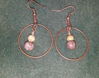 Stone amd hoop earrings