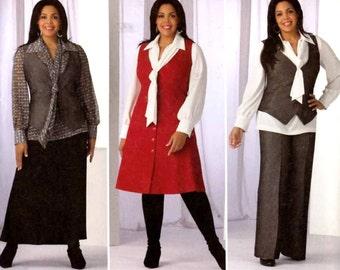 Khaliah Ali collection Pants skirt blouse vest jumper sewing pattern Simplicity 2566 Sz 10 to 18 UNCUT