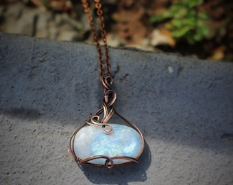 Large Flashy Rainbow Moonstone Oxidized Copper Wire Wrapped Gemstone Necklace