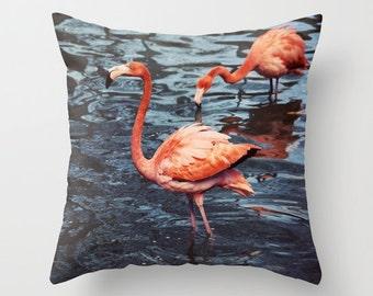 Throw Pillow Cover Flamingo Coral Pink Peach Navy Blue Bird Coastal Tropical Ocean Beach Cottage Photo Case Home Bedroom Decor