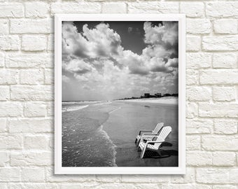 Ocean photography, black and white prints, printable photos, beach photography digital download, beach chair, St. Augustine, Florida print