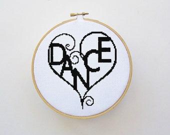 Dance Heart Cross Stitch Pattern - PDF File, X Stitch Pattern, Easy Cross Stitch Pattern