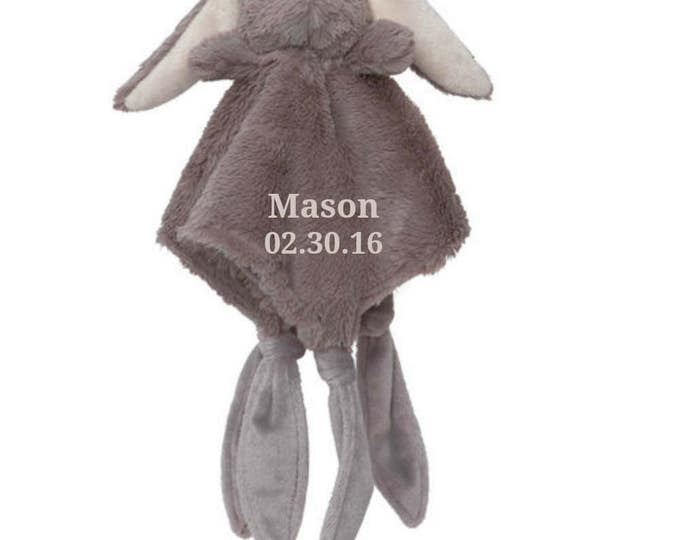 Personalized Bunny Rabbit Minky Security Blanket, Personalized Baby Shower Gift, Embroidered Baby Keepsake