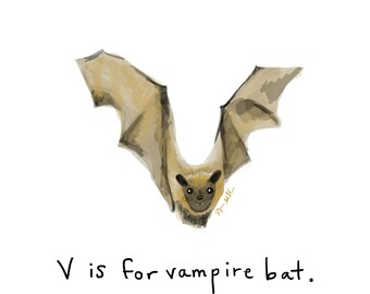 V is for Vampire Bat Print