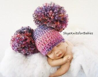 Baby Girl Beanie, Crochet Baby Hat, Baby Boy Hat, Newborn Beanie, Big Pom Pom Hat, Baby Newborn Hat, Baby Girl Hat, Newborn Baby Hat