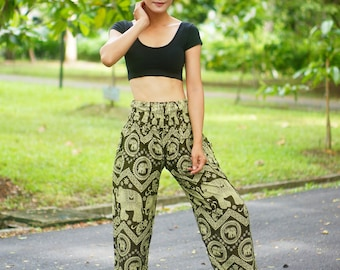 Imperial Elephants Print Thai Pants, Rayon Pants, Boho Strenchy Pants, Elastic Waist Clothing Beach Women Baggy Casual Olive Color NM22079