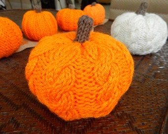 Knit Pumpkin, Fall Decor, Pumpkin Decor, Stuffed Pumpkins, Halloween Pumpkin, Knitted Pumpkin, Cable Knit Pumpkin, Best Selling Items