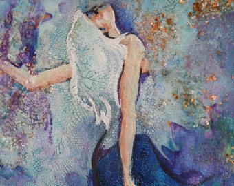 Small Original Painting - Female Figure in Blue and  White - 12 x 9 inches