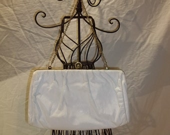 White Purse ETRA White Leather Clutch Hide-a-Away Chain Handle Vintage Purse Vintage Clutch Free Shipping