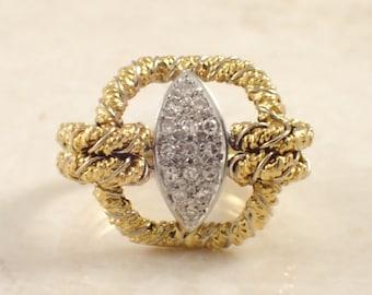 18K Yellow Gold Diamond Ring, Textured Gold Ring, Diamond Ring, April Birthstone, Vintage Diamond Ring