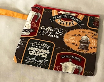 Coffee Zipper Wristlet