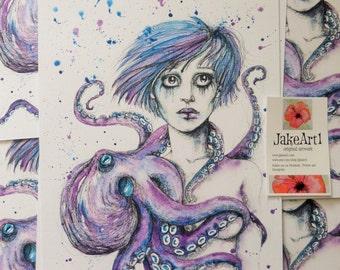 Fantasy octopus digital art print octopus art fantasyart