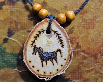 Horse Folk Art Wooden Pendant, pyrography necklace, wood slice necklace, horse necklace, woodburning, rustic jewelry wooden jewelry handmade