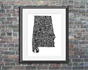 Alabama  typography map art unframed print customizable state poster personalized wall art home decor