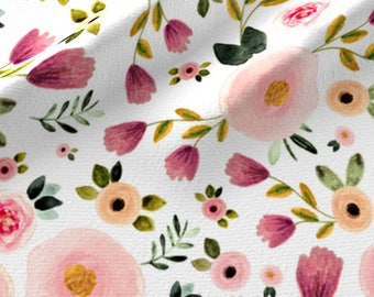 Garden Floral Quilting Fabric by the Yard Flowers Baby Girl Fabric Nursery Fabric Organic Cotton Floral Knit Fabric Cotton Fabric 5813871