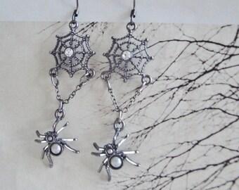 Itsy Bitsy Spider Web Earrings, Hanging, Dangle Earrings, Goth, Halloween