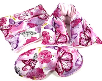 Butterflies, Microwave Rice Bag, Heating Pad, Neck Wrap, Eye Pillow, Relaxation Gift, Hot Cold Pack, Pain Relief, Lavender, Ships FREE!