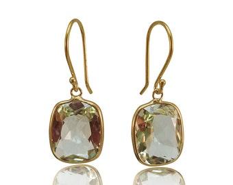 Green Amethyst Gold Earrings 14K Yellow Gold Hallmark Prasiolite Dangle Earrings