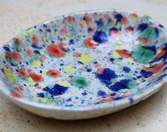 Spotty bowl, ceramic bowl, rainbow bowl, hand made bowl, hand painted bowl, bowl, platter, sweet holder, nut holder, decorative bowl, pot