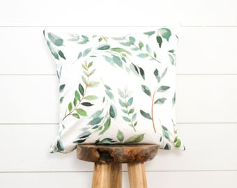 Olive Branch Pillow Cover, Painted Leaves Decorative Pillow, Botanical Pillow