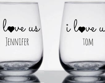 I love us, custom wine glasses, wine glasses, gift for couples, engagement gift, valentines gift, wedding gift, anniversary gift, couples,