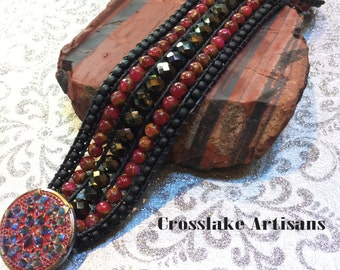 Five row cuff, beaded bracelet in black and red