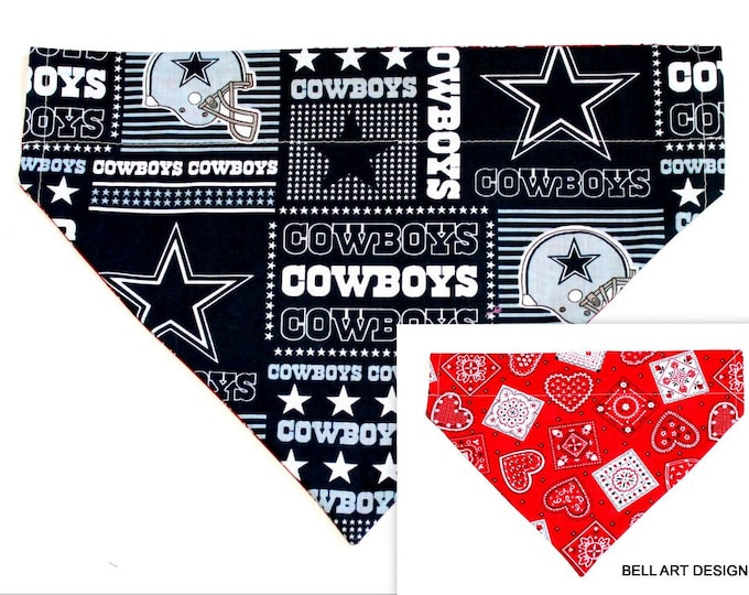 DOG BANDANA ~ Dallas Cowboys~ Over the Collar ~ Reversible ~ Bell Art Designs - Extra Large DCXL0220