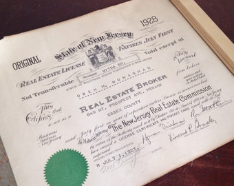 Antique 1928 New Jersey Real Estate License. Office Wall Decor. Paper Ephemera.