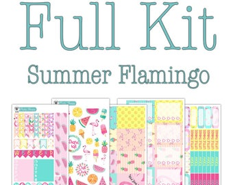 Summer Flamingo Planner Stickers Collection