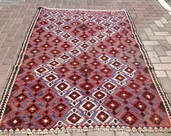 Faded blue and red Vintage Turkish kilim rug, area rug, kilim rug, kelim rug, vintage rug, bohemian rug, Turkish rug, rug, tribal rug, 224