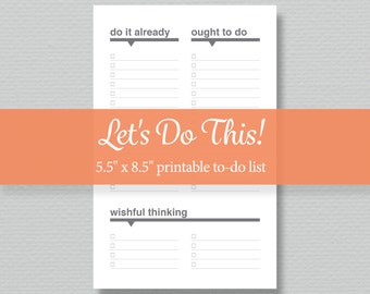 To-do List Printable - Editable PDF - Digital Download - Half-Letter Size - by Sassy Planners