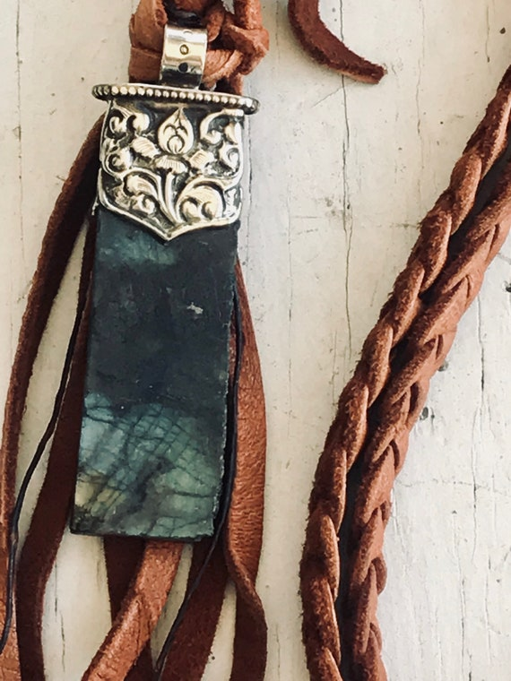 Desert Sky. Labradorite slab on long leather braid. Handmade and one of a kind by ladeDAH! Jewelry.