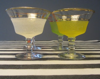 Vintage Set of 4 footed golden stripe and sugar frosted multicolored liqueur glasses - 1950s