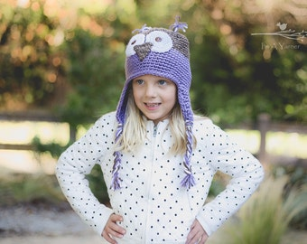 Purple Owl Hat, Crochet Baby Hat, Knitted Beanie, Baby Beanie, Toddler Toque, Little Girl Owl, Baby Girl Present, Sleepy Owl, Baby Shower